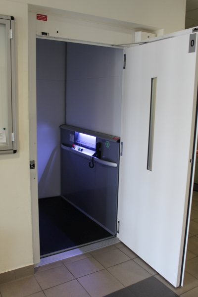 Elevator for persons with disabilities in UJK Sport Center.